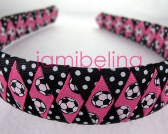ONE INCH wide woven headband - Soccer Fun Headband for your favorite soccer girl