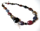 Multi Color Scale Agate Necklace - FREE SHIPPING