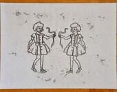 Print of Original Monoprint Drawing on sumi-e paper 8 x 12