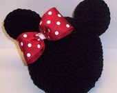 RED BoW MINNIE MOUSE Ears CrocheT Beanie Flapper Hat Girl, SiZES AVAiLABLE Preemie Newborn Infant Toddler Child PHoTO PRoP EtsY FronT PagE