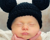 MICKEY MOUSE CROCHET Beanie Flapper Hat Boy or Girl, SiZES AVAiLABLE Preemie Newborn Infant Toddler Child PHoTO PRoP