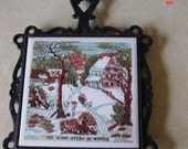 Vintage Cast Iron Trivet - The Homestead In Winter