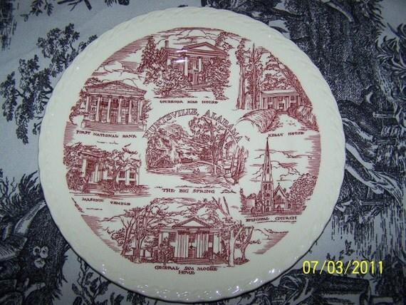 Vernon Kilns Huntsville Alabama souvenir decorative plate - VINTAGE, excellent condition
