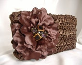 Michaela - Satin Ribbon Clutch in Brown with Beaded Flower - Handmade -  Weddings to Fun - Handmade