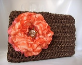 Michaela - Chocolate Brown Medium-sized Satin Clutch with Flower - Wedding, Formal, Evening, Fun - Handmade - Ready to Ship