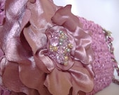 Long Purse Wristlet Rosy Mauve Satin and Beaded Handmade Flower - And Color - Made to Order