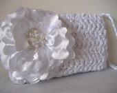 SALE - White Satin Wedding Wristlet Clutch Purse with Beaded Flower - Handmade - Ready to Ship
