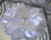 "Hair Flower in White Satin - 3 3/4"" - Handmade - Ready to Ship"