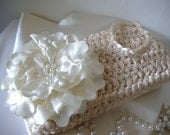 Michaela - Cream or Champagne Colored Wedding Clutch Wristlet Purse - Handmade