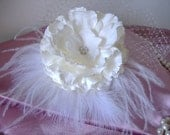 Wedding Bridal Cream Silk Flower Fascinator Headpiece Adorned with Lots of Feathers and Tulle