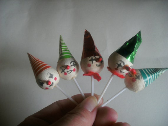 Vintage Cake Toppers, collectibles, paper clowns, 5 pcs.