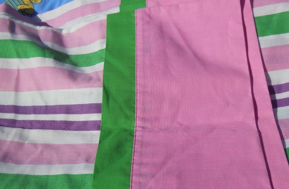 sale-Vintage pllowcase, Pink, Purple and Green stripes, percale, retro, 1960s, 1970s