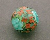 Lampwork Teal and Coral Red Floral Flower Focal Pendant Bead by Mylampworkgarden, designer