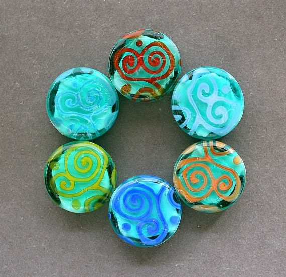 Lampwork Scrolls 6 Coin Beads Set by Mylampworkgarden, designer