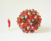 Vintage Beaded Brooch Pin in Orange and Plum Aurora Borealis Beads