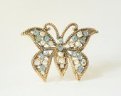 Vintage Butterfly Pin Brooch with Aurora Borealis Rhinestones in Brass Colored Metal Setting