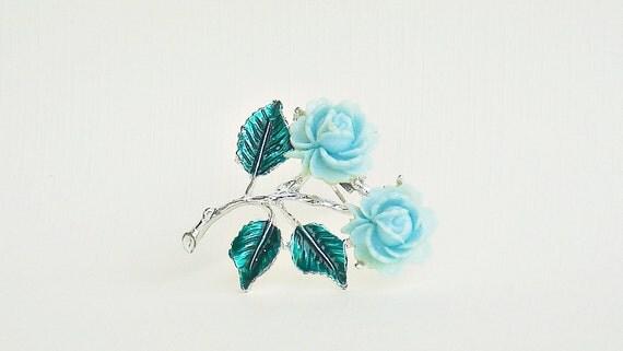Aqua Rose Brooch -Floral Pin