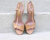 1980s High Heels / 80s Stiletto Shoes / Beige Open Toe / Sling Back / 8.5 M