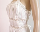 1950s Gown Nightgown Lingerie VANITY FAIR White Lacy Semi Sheer Small