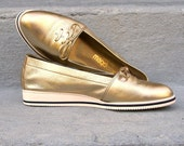 1980s GOLD Wedge Flats Loafers Shoes 7M