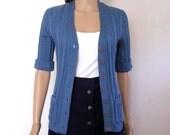 1960s Cardigan / 60s Sweater CADET BLUE / Short Sleeve / Small