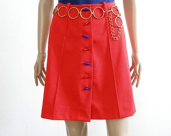 1960s Mini Skirt Vintage Red Orange High Waist Flared Short Skirt / Small