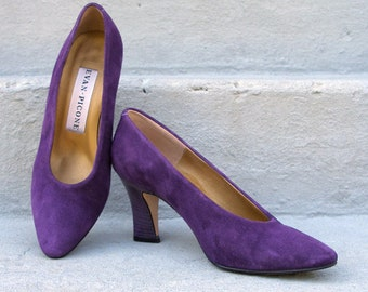 Vintage 1980s High Heels Purple Suede Pumps Shoes / U. S. 6 to 6.5M