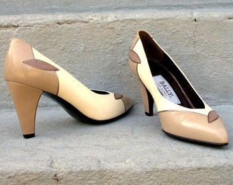 Vintage 1980s High Heels Unworn Cream Taupe Cocoa Bally Pumps Shoes / U. S. 6 to 6.5M