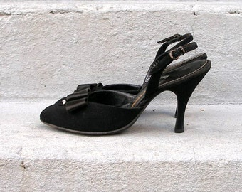 1950s High Heels Vintage 50s Black Bow Rhinestones Slingbacks Shoes / US 4.5 to 5