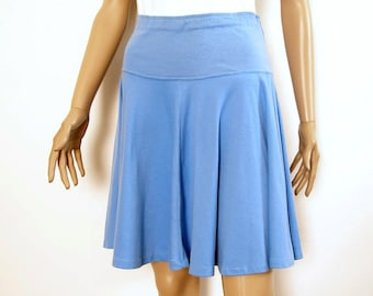 Vintage 1970s Mini Skirt  Blue Knit High Waist Yoked Full Flared Skater Skirt / Small