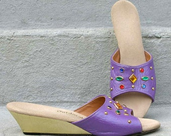 Vintage 1980s Sandals Purple Wedge Slides Low Heel Sandals /  Faux Jewels / U. S. 7.5 N