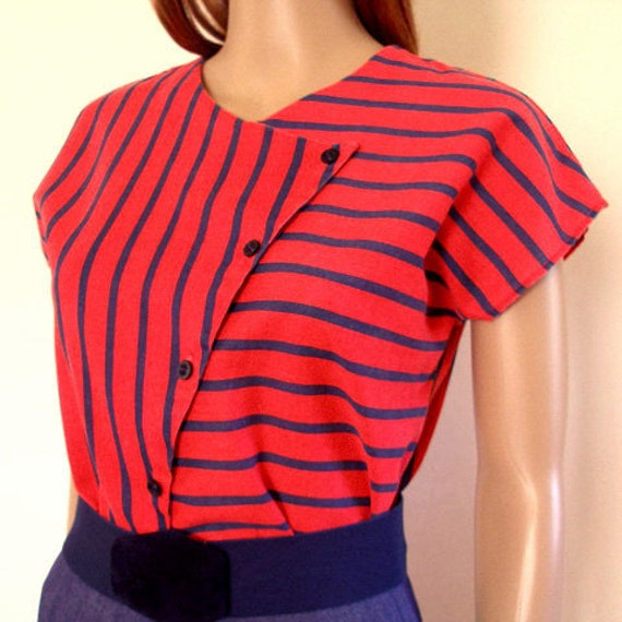 1960s Blouse Shirt Top CUTE Red Navy Stripe Diagonal Buttoned SM