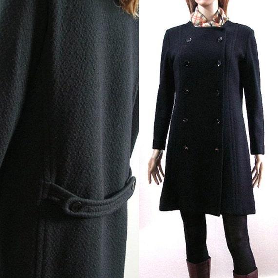 1960s 1970s  Mini Dress / 60s 70s Coat Dress / Soft BLACK Wool Knit / Size SM