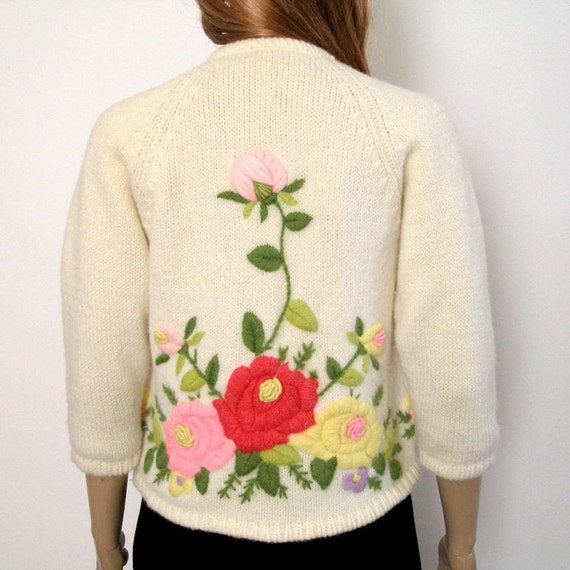 RESERVED For Terry 1950s 1960s Cardigan / 50s 60s Sweater / Floral Embroidered ROSES on Creamy White / SM