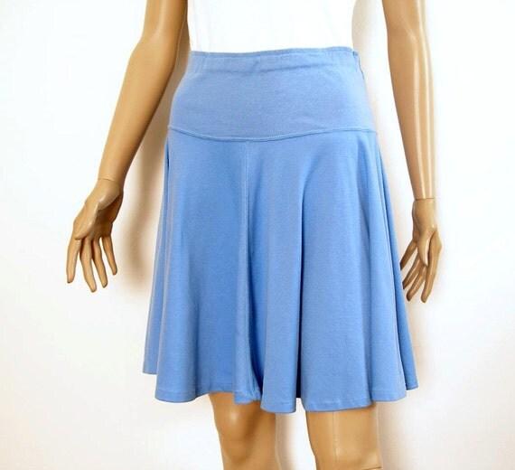 Vintage 1970s Mini Skirt  Blue Knit High Waist Yoked Full Flared Skater Skirt / Small