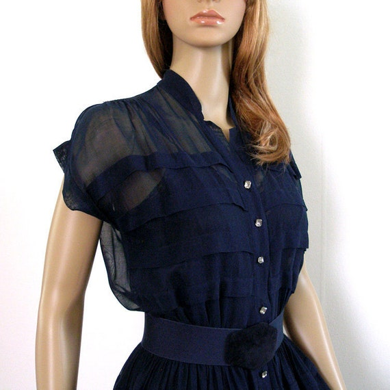 1950s Dress / 50s Navy SHEER Dress / Rhinestone Button Front / Small