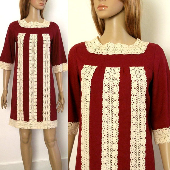 Vintage Mini Dress / 1960s Babydoll Shift Dress / Dark Cranberry Ivory Lace / SM