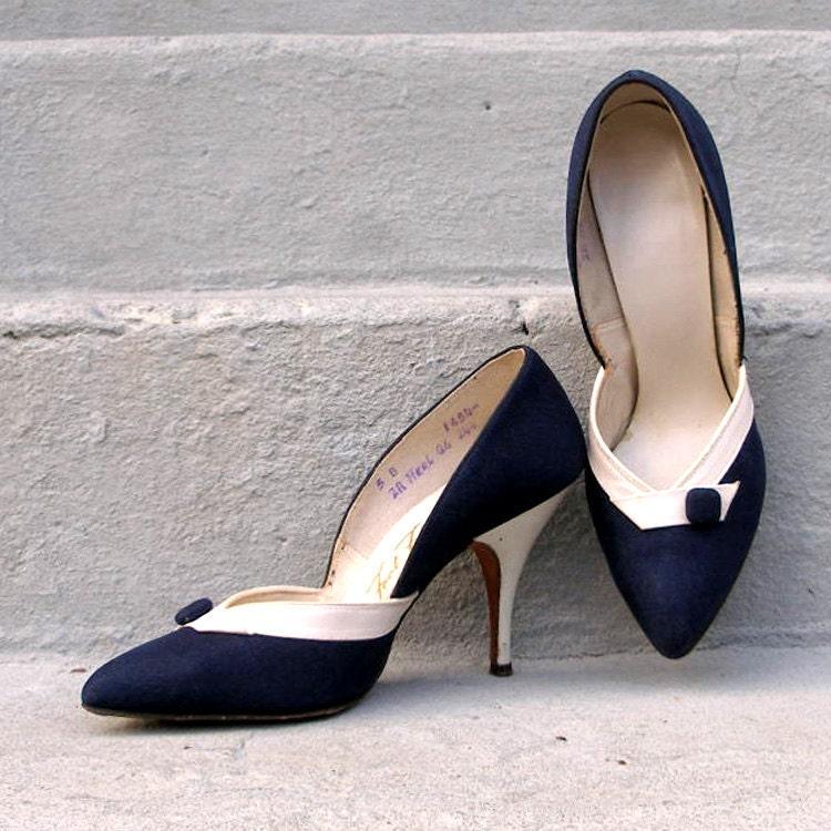 Navy High Heels Cort Shoes