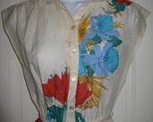Vintage 1970's Tropical Flower Floral Print Sleeveless Shirt Dress Small