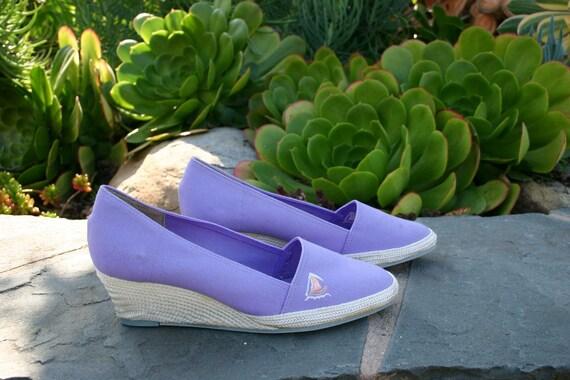 Vintage Purple Sailboat Espadrilles - Size 6.5