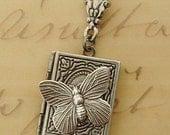 Silver Butterfly Locket Necklace, Wedding, Small Silver Book Necklace, Silver Connector, Long Chain - April