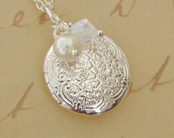Small Silver Locket Necklace Wedding Bride Bridesmaid Petite Tiny Pearl Birthday Wife Sister Daughter Photo Pictures -  Mitzi