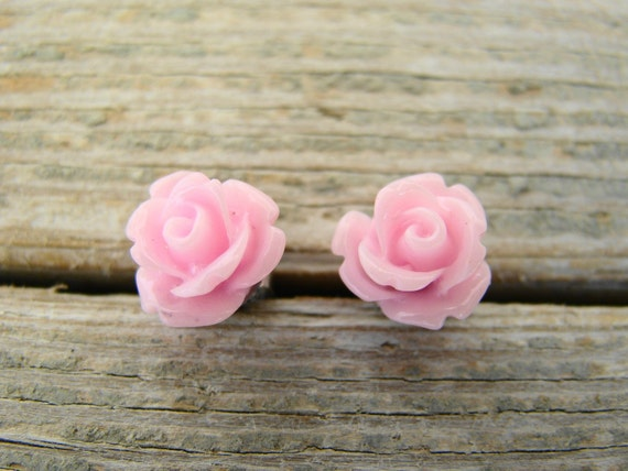 Pink  Rosebud Flower Stud Earrings with Surgical Steel Posts - SOPHIES CHOICE