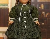 18 inch Doll Clothes-Green Civil War Era Dress and Pinafore