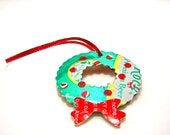 Christmas Wreath Ornament made from upcycled vintage beer cans