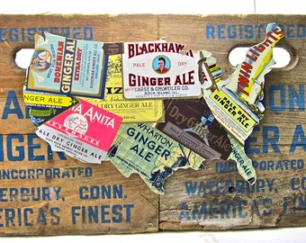 United States Map - Upcycled Vintage Ginger Ale Label Collage