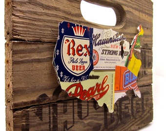 United States Map Collage made from vintage upcycled US beer labels