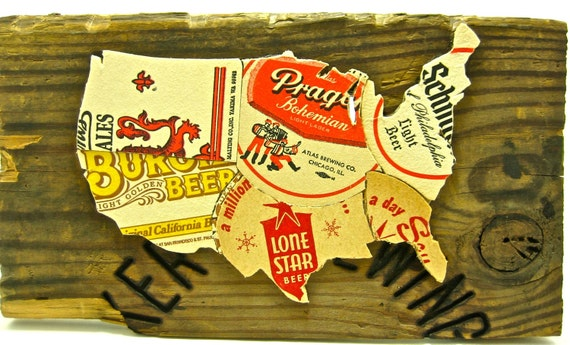 USA Map made from vintage upcycled US beer coasters