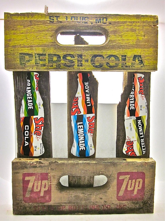 Soda Bottle collage made from upcycled soda labels and crates