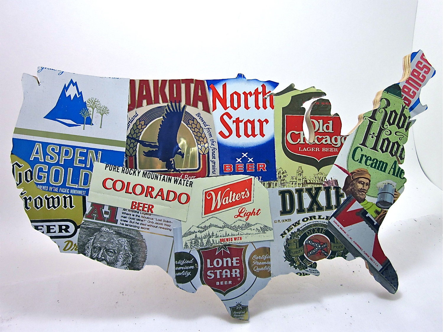 United States Map Collage Made From Vintage Upcycled US Beer - Us map collage